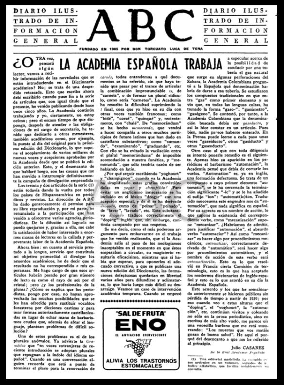 ABC, 22 de enero de 1964. Artículo de Julio Casares.