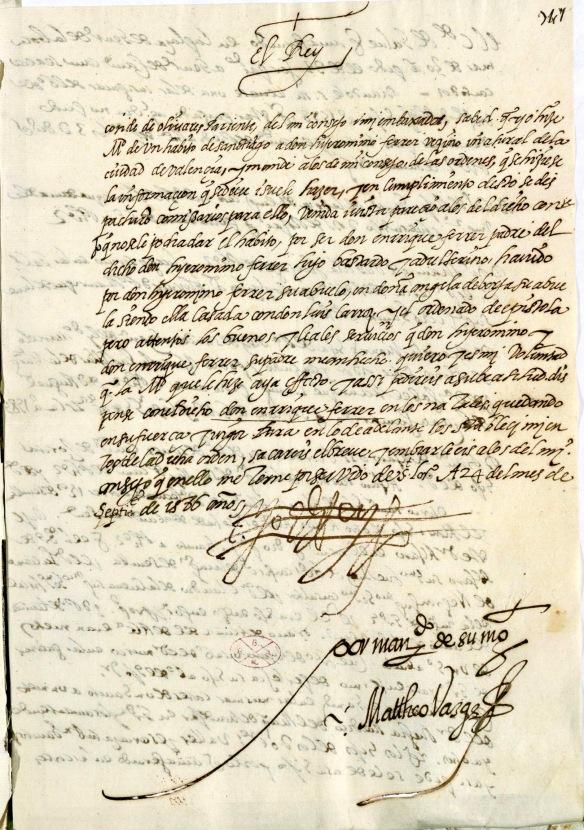 Carta de Felipe II conservada en la Real Academia de la Historia.