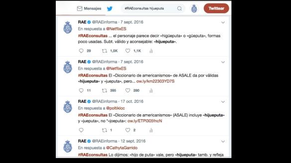 Respuestas en Twitter de la @RAEinforma