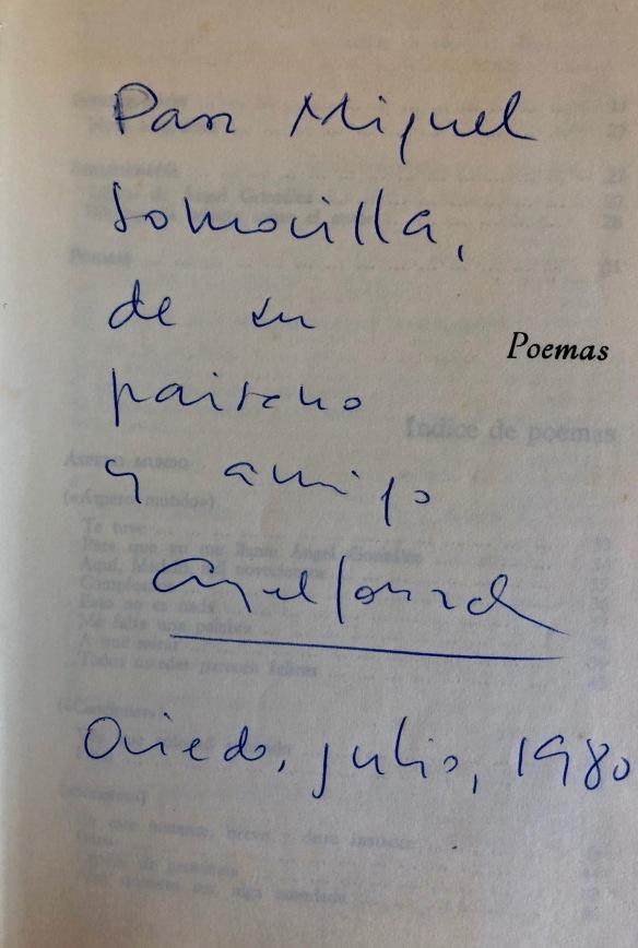 Dedicatoria fechada en Oviedo, 1980.
