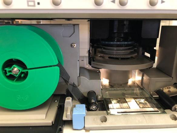 Lector del microfilmes de la Biblioteca Nacional de España.