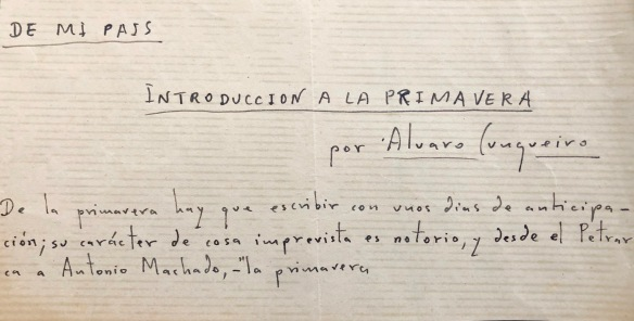 Manuscrito de Álvaro Cunqueiro conservado en la Fundación Penzol de Vigo.